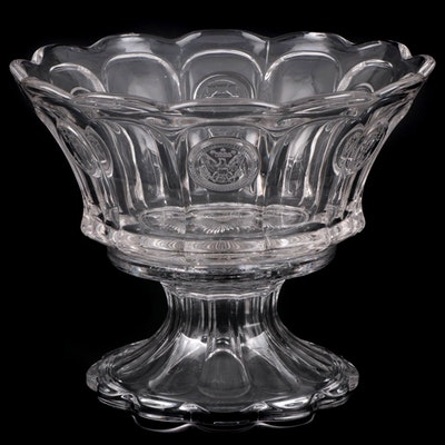 "Fostoria ""Coin Glass Clear"" Punch Bowl with Stand, Mid to Late 20th Century"