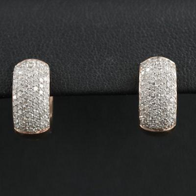 14K Rose Gold 1.08 CTW Diamond Huggie Earrings