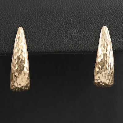14K Hammered J Hoop Earrings