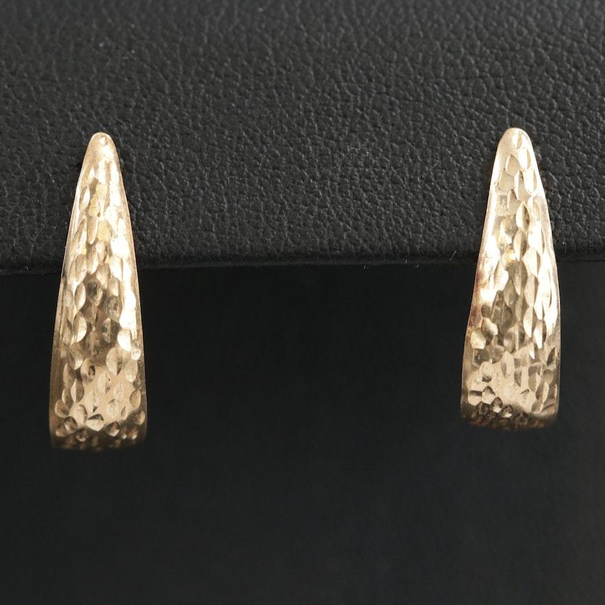 14K Hammered J Hoop Earrings