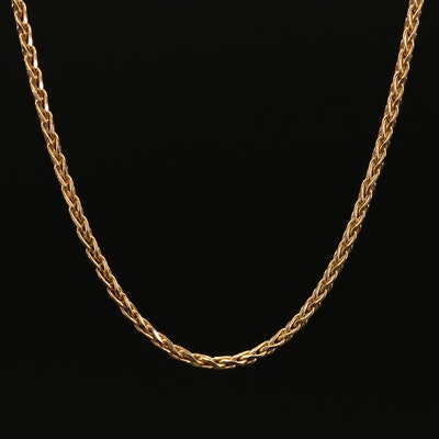 14K Yellow Gold Wheat Chain Necklace