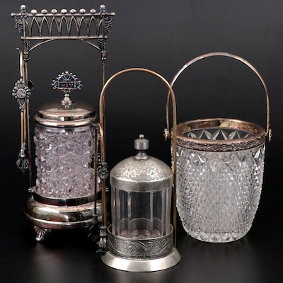 Aesthetic Movement Silver Plate Pickle Castors and Ice Bucket