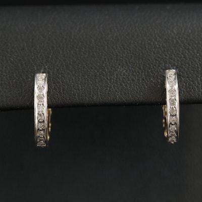 14K Yellow Gold Diamond Heart Huggie Earrings
