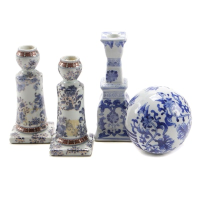 Chinese Porcelain Candlesticks with Blue and White Porcelain Sphere