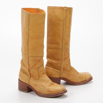 Frye Campus Stitch Signature Crunch Leather Tall Stacked Heel Boots
