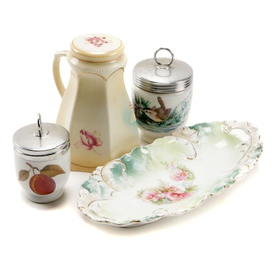 Royal Worcester Egg Coddlers with Porcelain Serving Tray and Sugar Caster
