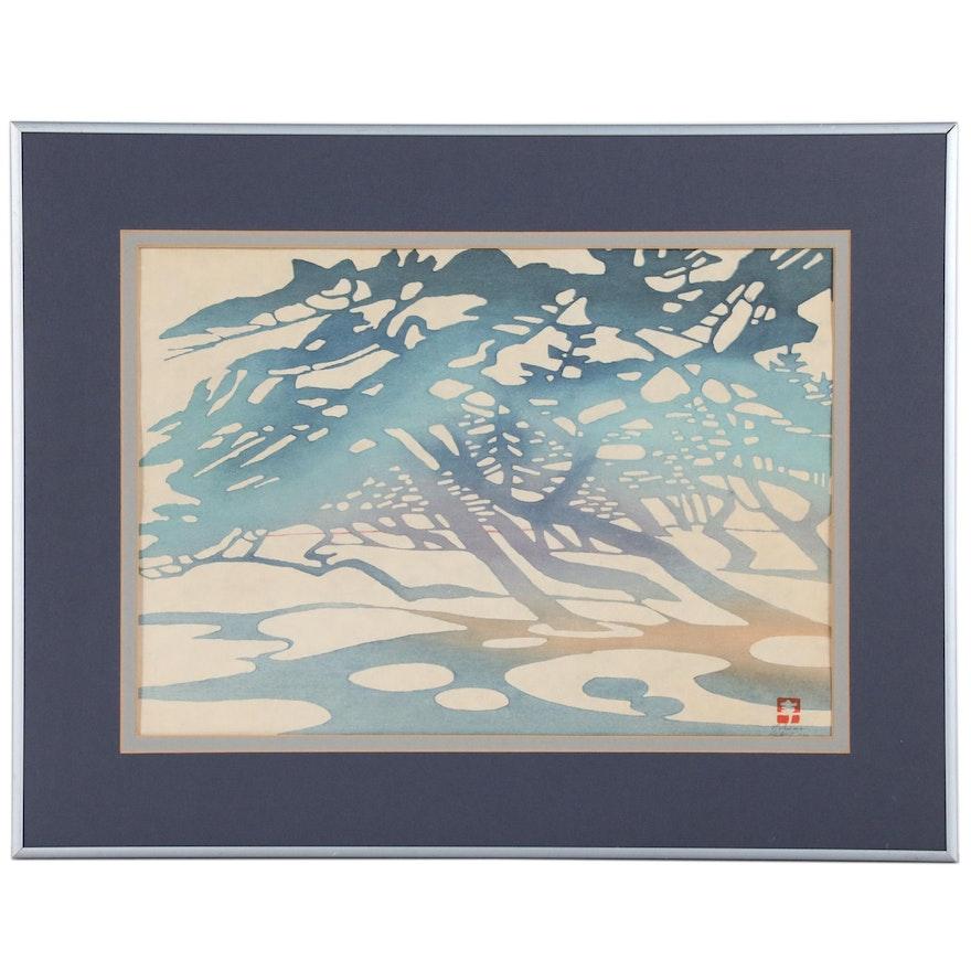 Toshijiro Inagaki Abstract Landscape Woodblock, Mid-20th Century
