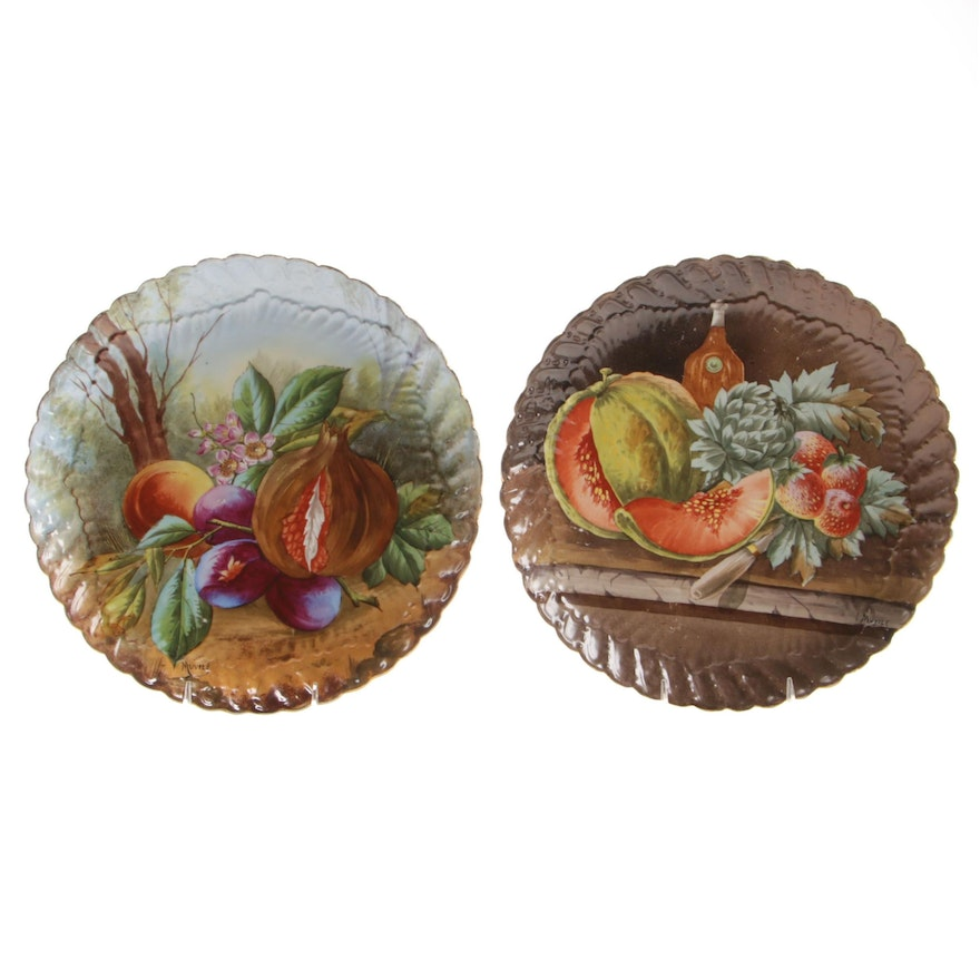 Hand-Painted Hobbyist Porcelain Fruit Motif Charges