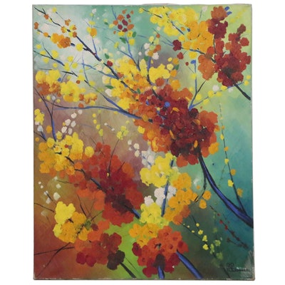 "Raymond Bonneel Oil Painting ""Voorjaarsbloemen"""