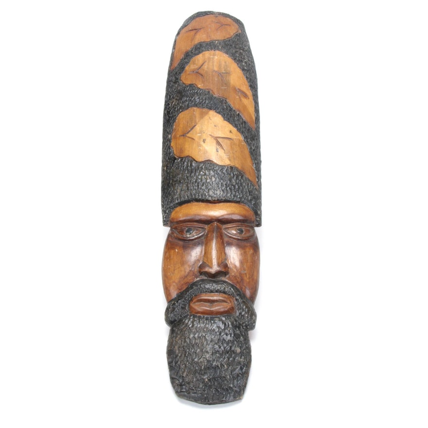 Wood Carved Mask Wall Decor Ebth