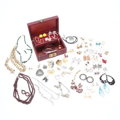 Trifari, Bico of Australia, Monet and Overflowing Costume Jewelry Box