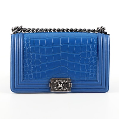 Chanel Matte Blue Alligator and Calfskin Leather Two-Way Boy Bag
