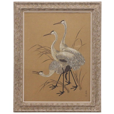 East Asian Ink and Gouache Painting of Cranes