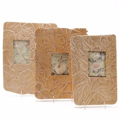 Art Nouveau Style Carved Lily Motif Wooden Frames