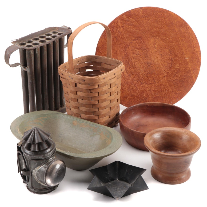 Longaberger Basket, Metal Candle Mold, Wooden Bowls, and Other Décor