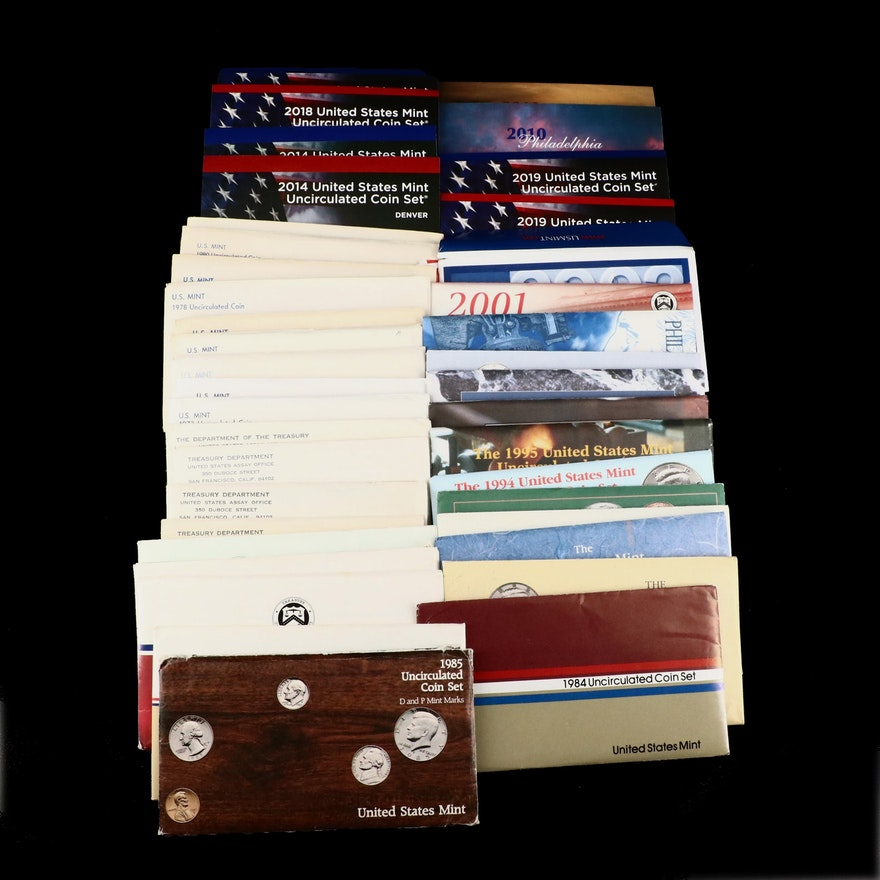 Thirty-Five U.S. Mint Uncirculated Sets, 1965 to 2019
