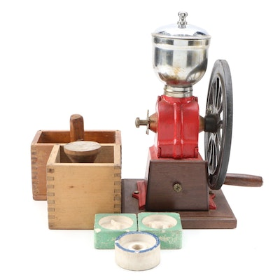 Cold Painted Coffee Mill, Butter Molds with Dovetailed Jointed Wooden Boxes