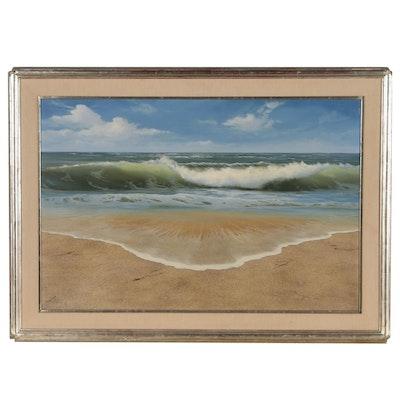 "Lin Seslar Seaside Oil Painting ""Rolling In"""