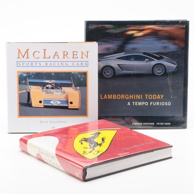Automotive Books Featuring Lamborghini, Ferrari and McLaren, First Editions
