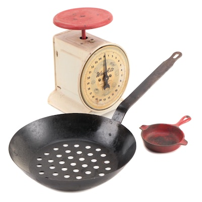 Way Rite Household Scale, French Chestnut Pan and Wagner Ware Cast Iron Pan