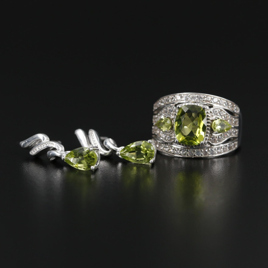 Sterling Silver Peridot Earrings and Ring with Zircon Accents
