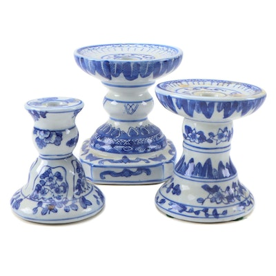 """Two's Company """"Canton Collection"""" Porcelain Candle Holders"""