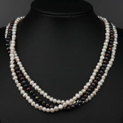 Cultured Pearl Multi-Strand Necklace with Sterling Silver Clasp