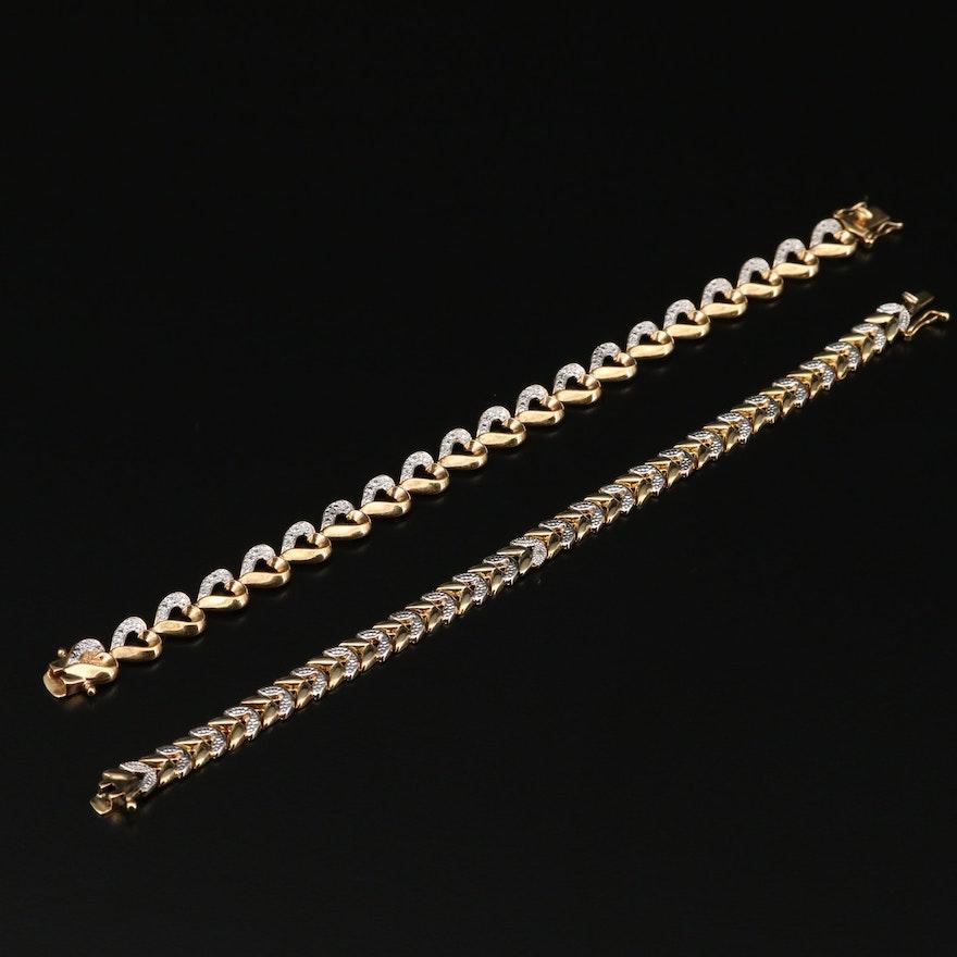 Sterling Silver Diamond Link Bracelets