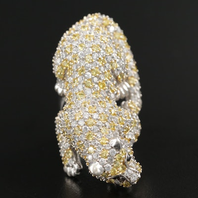 Sterling Silver Cubic Zirconia and Glass Leopard Ring