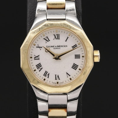 Baume & Mercier Riviera 18K Gold and Stainless Steel Quartz Wristwatch
