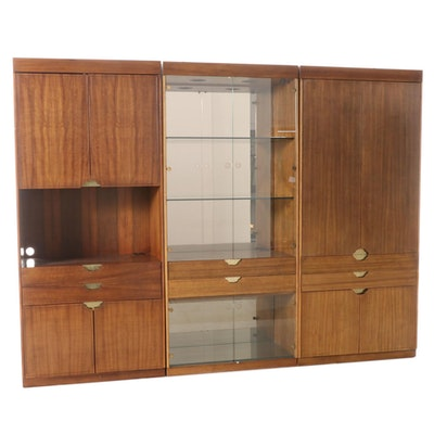 Illuminated Walnut Display/Media Cabinet, Late 20th Century
