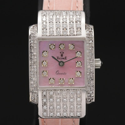 18K Gold and 1.03 CTW Diamonds Vicenee Quartz Wristwatch