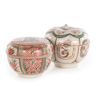 Chinese Ming Style Ceramic Lidded Jars
