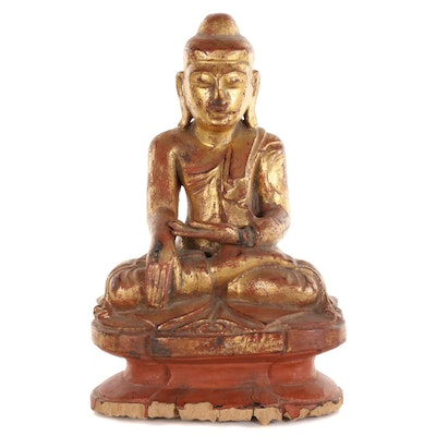 Burmese Giltwood Figure of a Seated Buddha