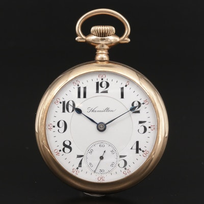Hamilton Railroad Grade Gold Filled Open Face Pocket Watch