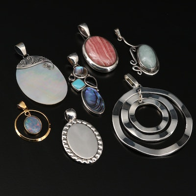 Collection of Sterling Silver Pendants with Rhodochrosite and Mother of Pearl