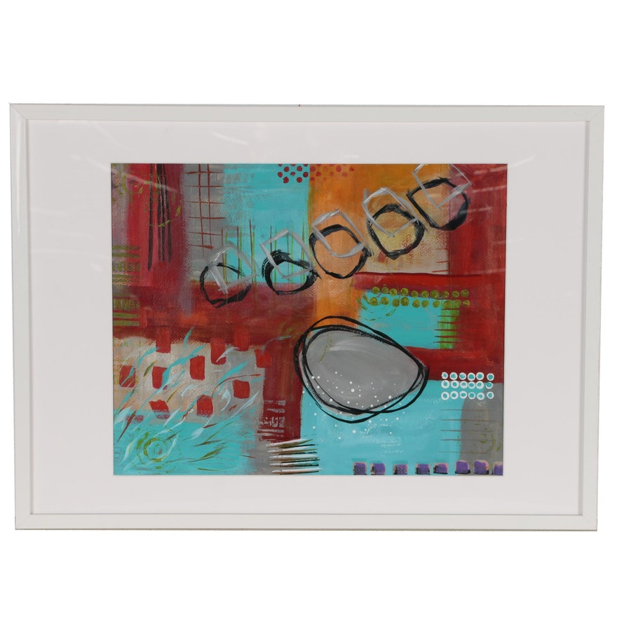 """Sanna Abstract Acrylic Painting """"Circles"""""""