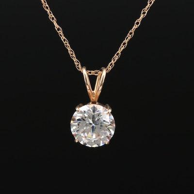 10K Yellow Gold Cubic Zirconia Pendant Necklace
