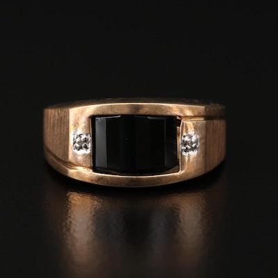 10K Gold Black Onyx and Diamond Ring