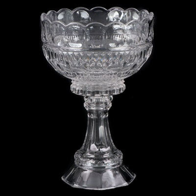 American Cut Glass Pedestal Centerpiece Bowl, 20th Century