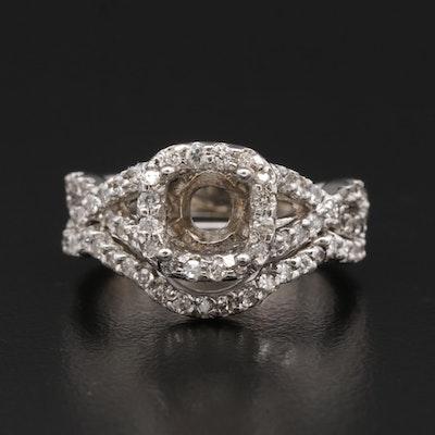14K Gold Diamond Semi-Mount and Contour Ring Set