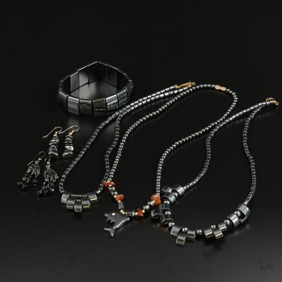 Jewelry Selection Featuring Hematite, Rhinestone, Agate, and Black Onyx