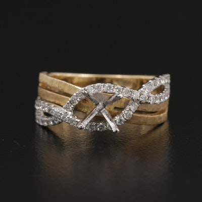 14K Gold Diamond Semi-Mount Cross-Over Ring with Textured Accents