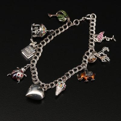 Sterling Silver Charm Bracelet Including Marcasite, Glass and Enamel
