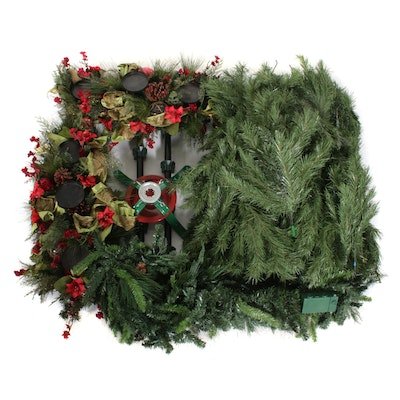 Artificial Christmas Tree, Garland, and Table Decorations