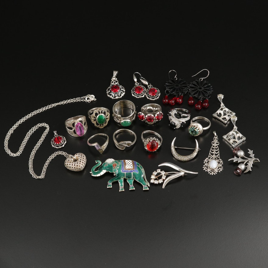 Sterling Silver Jewelry Selection Featuring Rhinestone, Agate, and Marcasite