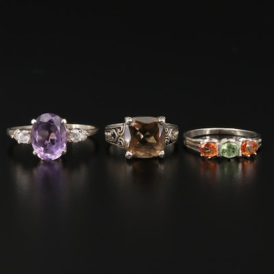 Sterling Silver Amethyst, Sapphire and Smoky Quartz Rings