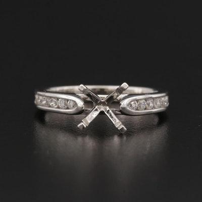 Caro 74 14K Gold and Platinum Diamond Semi-Mount Ring
