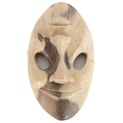 Indonesian Carved Hibiscus Wood Two-Faced Mask