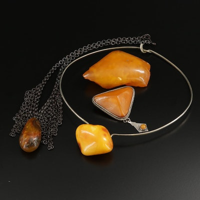 Mutton Fat Amber Necklaces and Brooches Including Sterling Accents